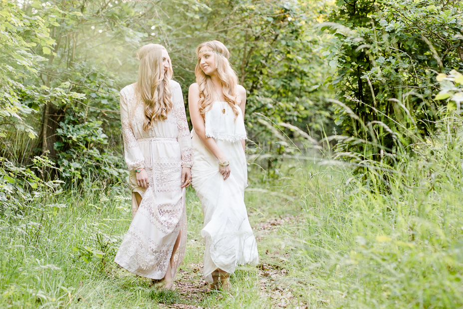 Boho Bridal Sisters Bohemian Hochzeit Inspiration