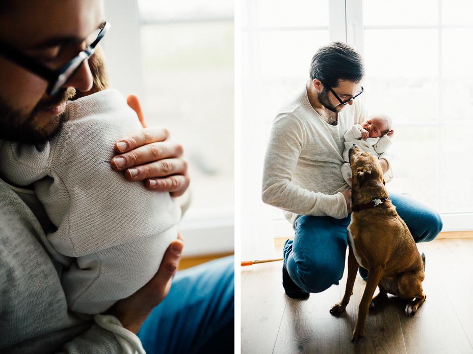 Neugeborenenshoot Homestory Babyfotos Babyshooting zuhause Homestory Babyfotograf Kassel Hessen modern lifestyle gemütlich Hund